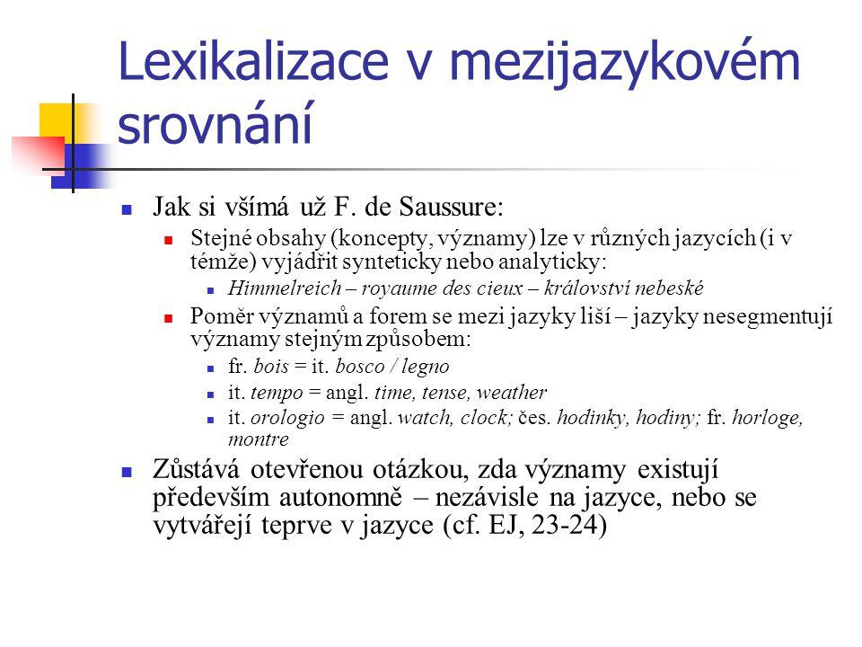 Lexikalizace v mezijazykovém srovnání Jak si všímá už F. de Saussure: Stejné obsahy (koncepty, významy) lze v různých jazycích (i v témže) vyjádřit sy