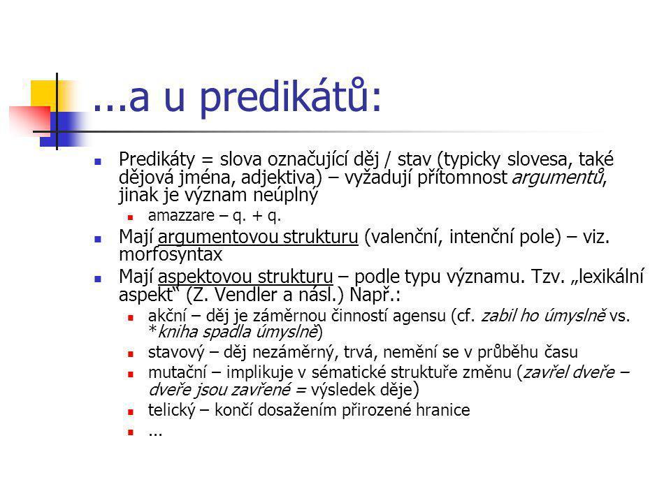 ...a u predikátů: Predikáty = slova označující děj / stav (typicky slovesa, také dějová jména, adjektiva) – vyžadují přítomnost argumentů, jinak je vý