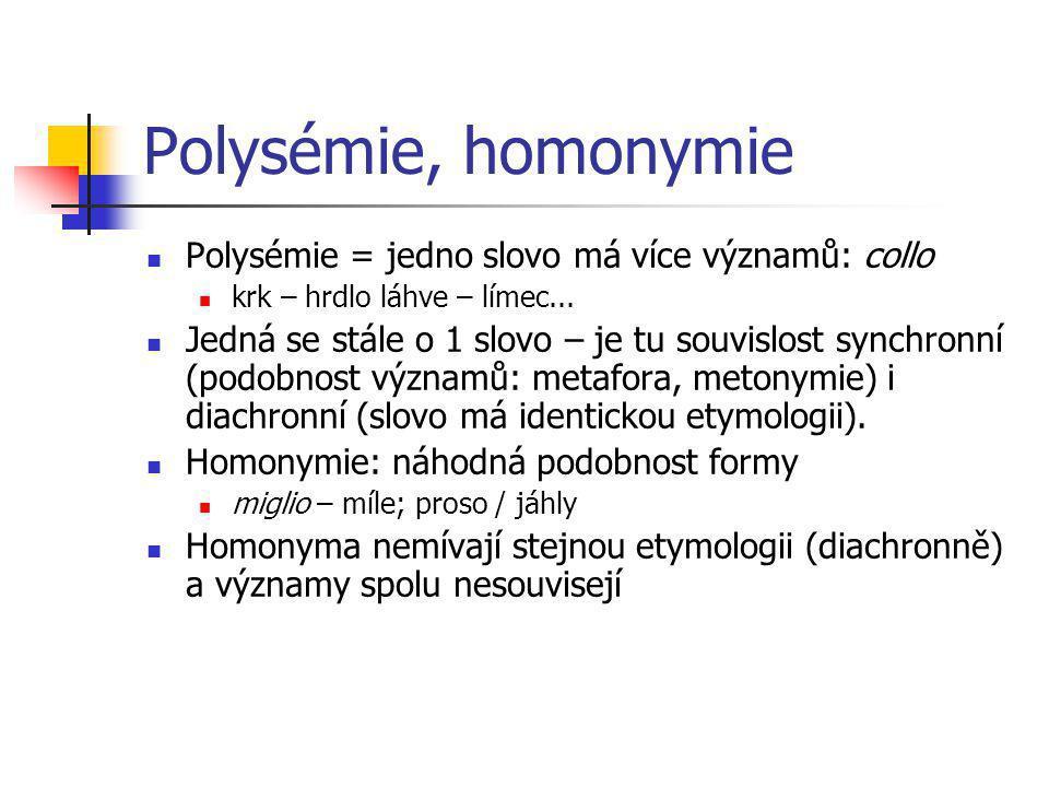 Polysémie, homonymie Polysémie = jedno slovo má více významů: collo krk – hrdlo láhve – límec... Jedná se stále o 1 slovo – je tu souvislost synchronn