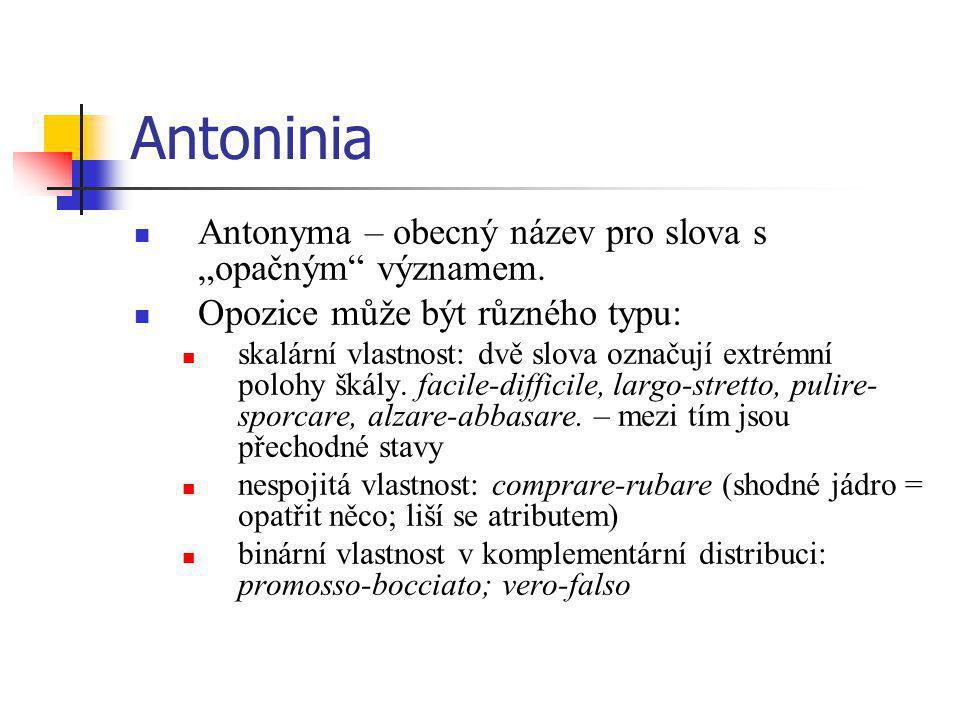 """Antoninia Antonyma – obecný název pro slova s """"opačným"""" významem. Opozice může být různého typu: skalární vlastnost: dvě slova označují extrémní poloh"""