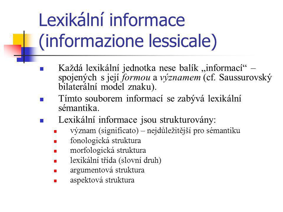 """Lexikální informace (informazione lessicale) Každá lexikální jednotka nese balík """"informací"""" – spojených s její formou a významem (cf. Saussurovský bi"""