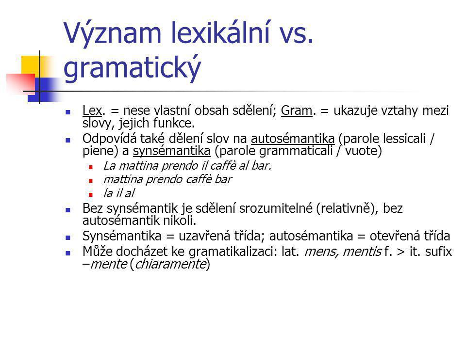 Význam lexikální vs. gramatický Lex. = nese vlastní obsah sdělení; Gram. = ukazuje vztahy mezi slovy, jejich funkce. Odpovídá také dělení slov na auto