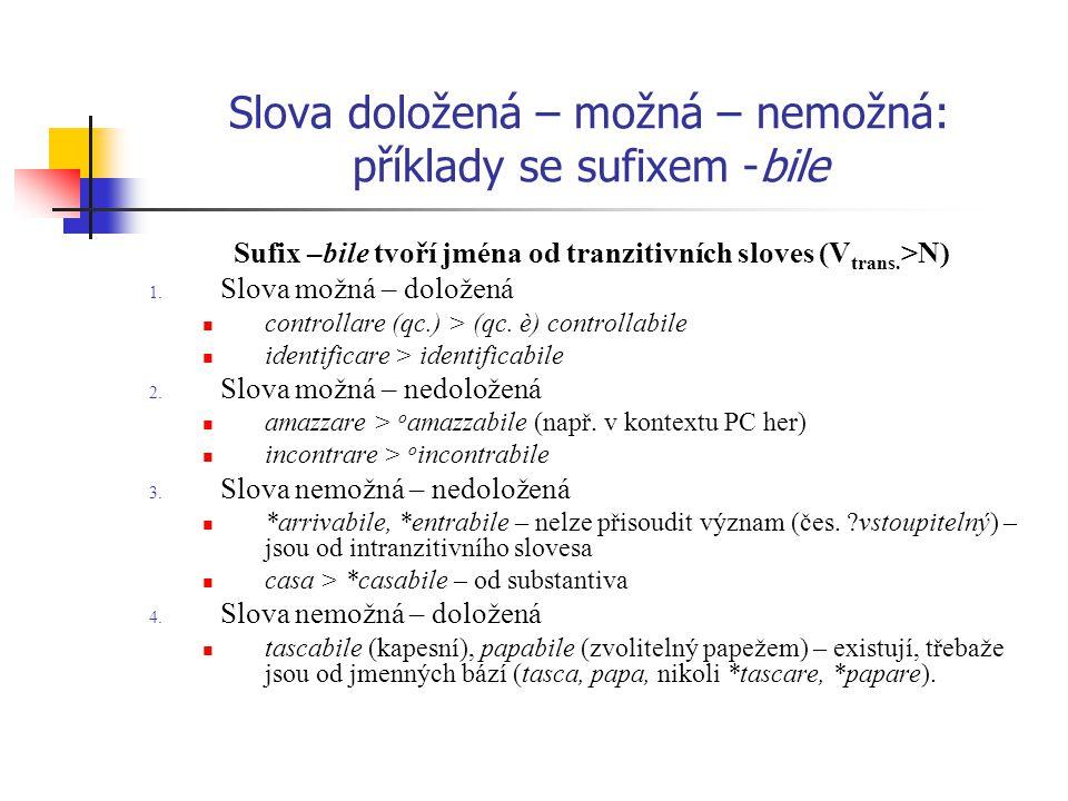 Slova doložená – možná – nemožná: příklady se sufixem -bile Sufix –bile tvoří jména od tranzitivních sloves (V trans. >N) 1. Slova možná – doložená co
