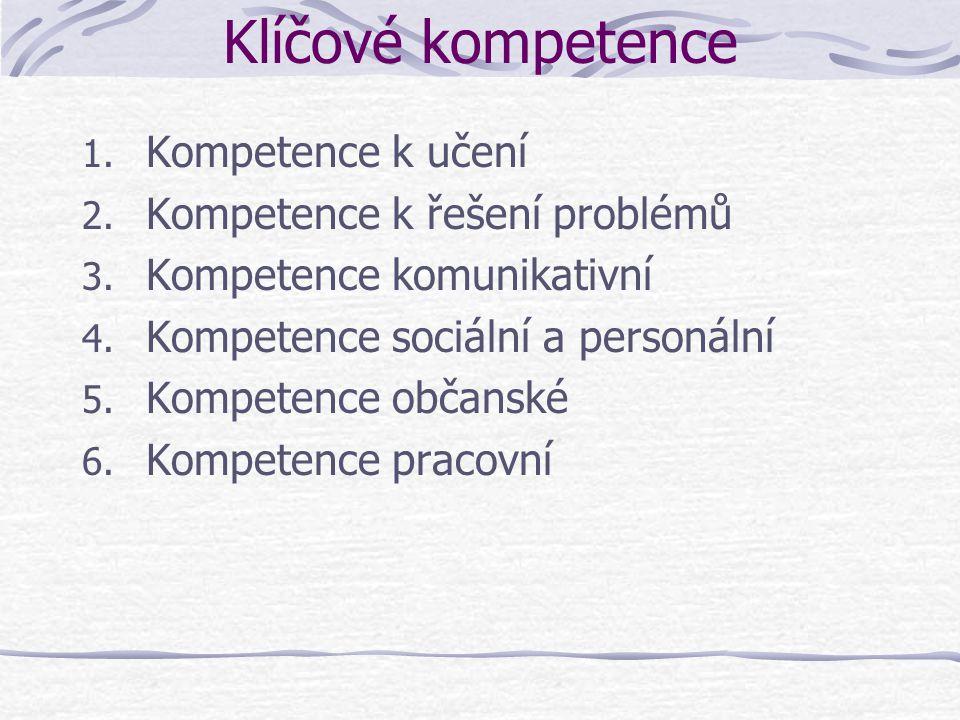 Klíčové kompetence 1. Kompetence k učení 2. Kompetence k řešení problémů 3. Kompetence komunikativní 4. Kompetence sociální a personální 5. Kompetence