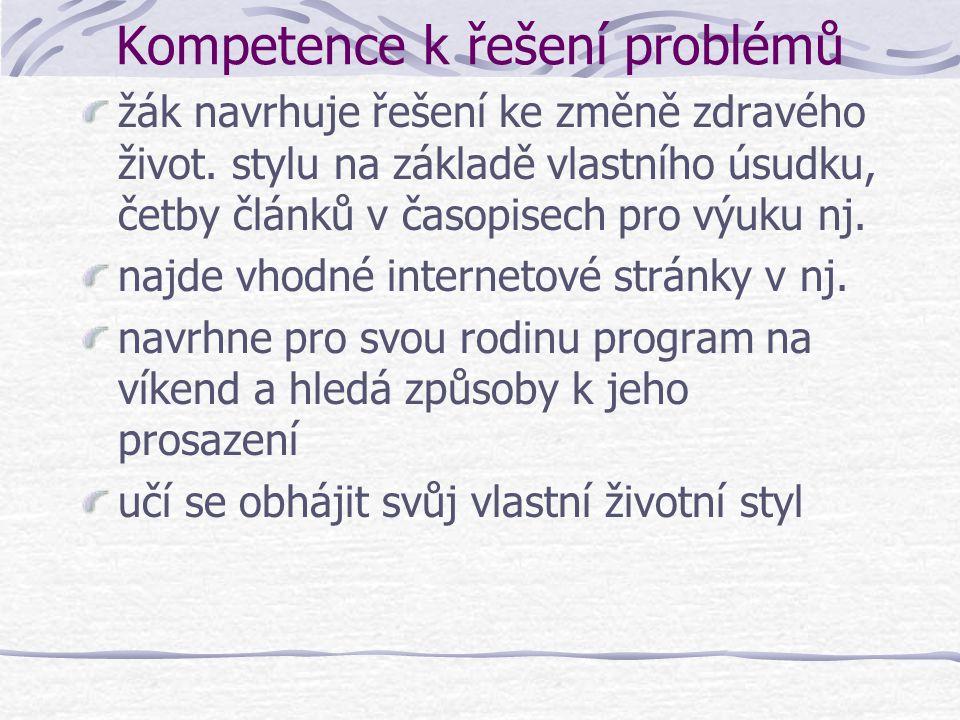 Kompetence k řešení problémů žák navrhuje řešení ke změně zdravého život. stylu na základě vlastního úsudku, četby článků v časopisech pro výuku nj. n