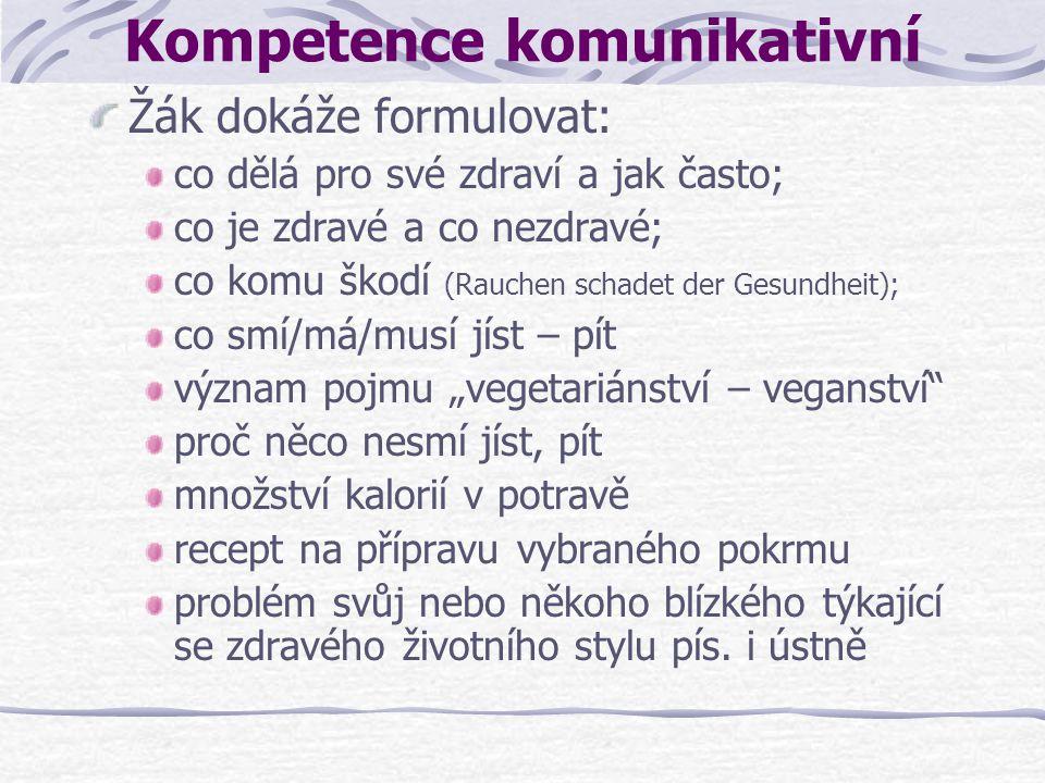 Kompetence komunikativní Žák dokáže formulovat: co dělá pro své zdraví a jak často; co je zdravé a co nezdravé; co komu škodí (Rauchen schadet der Ges