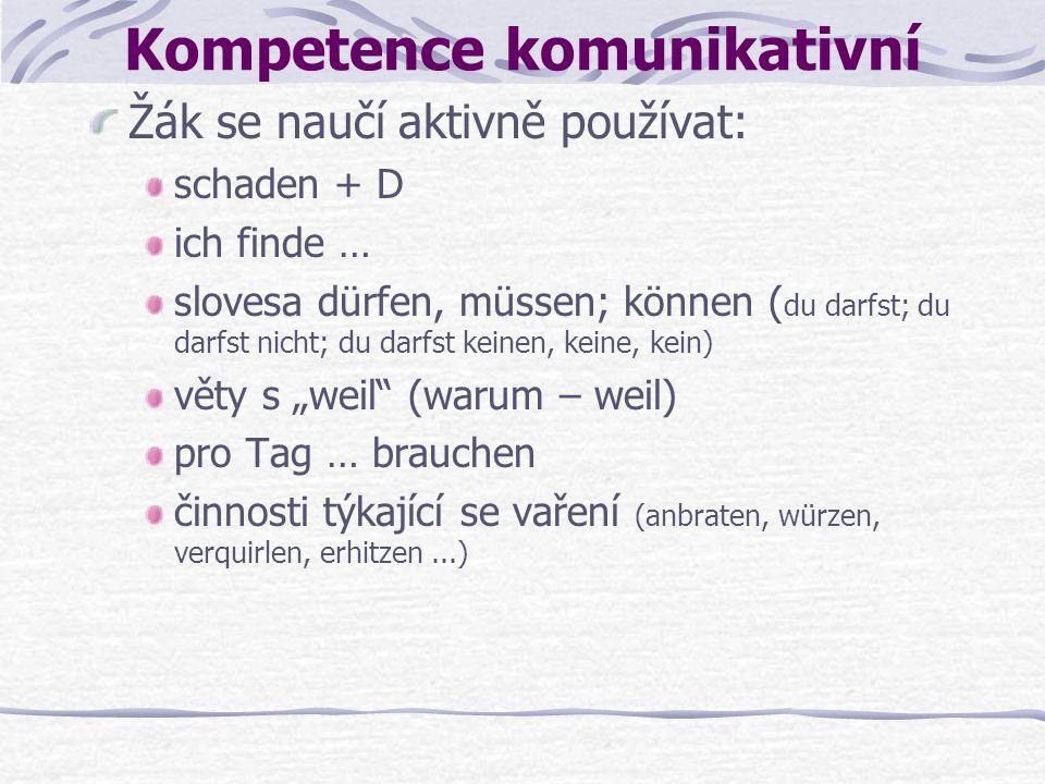 Kompetence komunikativní Žák se naučí aktivně používat: schaden + D ich finde … slovesa dürfen, müssen; können ( du darfst; du darfst nicht; du darfst