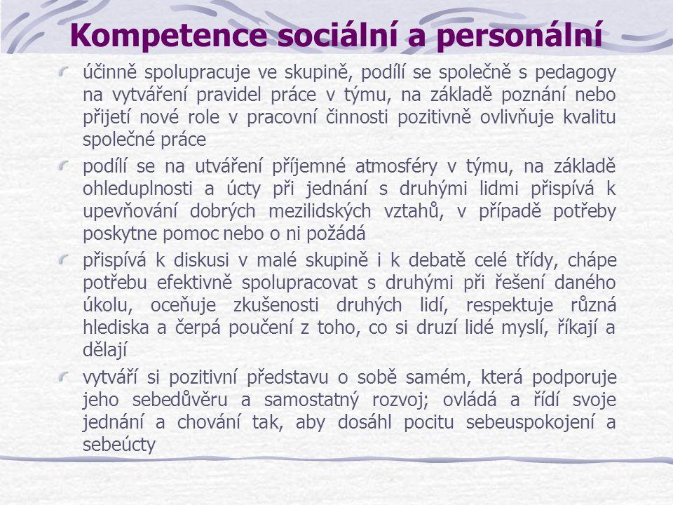 Kompetence sociální a personální účinně spolupracuje ve skupině, podílí se společně s pedagogy na vytváření pravidel práce v týmu, na základě poznání