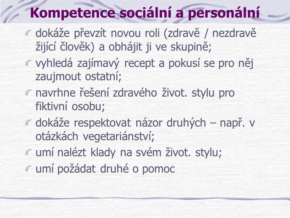 Kompetence sociální a personální dokáže převzít novou roli (zdravě / nezdravě žijící člověk) a obhájit ji ve skupině; vyhledá zajímavý recept a pokusí