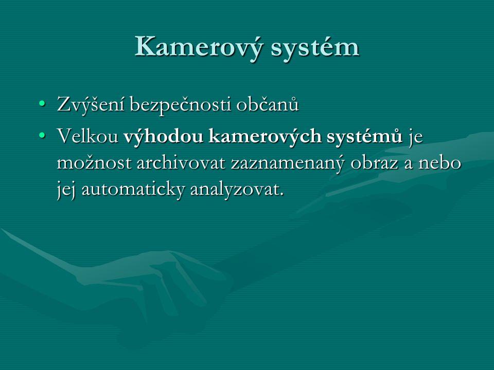 Kamerový systém Zvýšení bezpečnosti občanů Velkou výhodou kamerových systémů je možnost archivovat zaznamenaný obraz a nebo jej automaticky analyzovat.