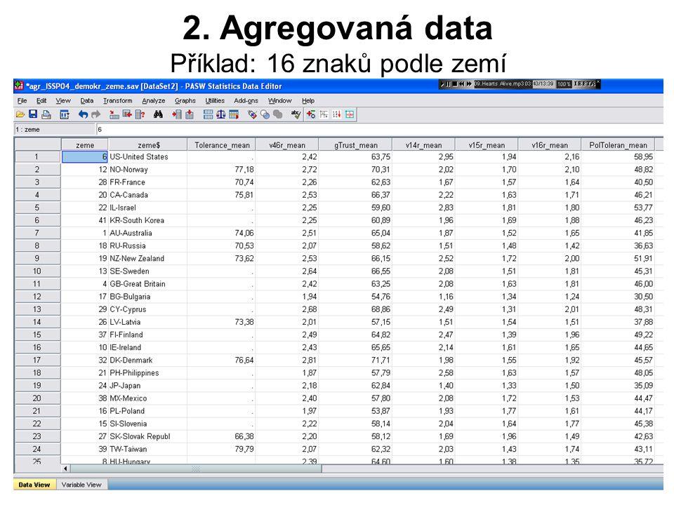 8 Příklad prezentace agregovaných dat: Hodnoty více agregovaných proměnných