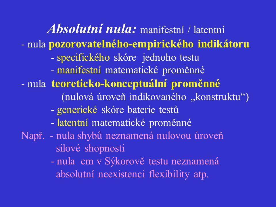 Absolutní nula: formální / obsahová  formální 0 (syntakticky konzistentní)) - nulová porodní délka či hmotnost .