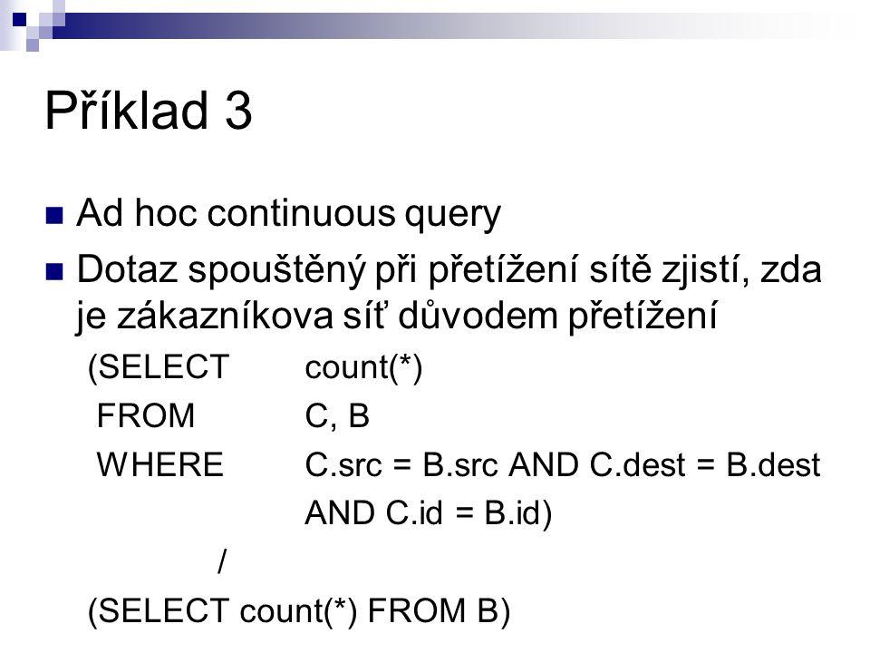 Příklad 3 Ad hoc continuous query Dotaz spouštěný při přetížení sítě zjistí, zda je zákazníkova síť důvodem přetížení (SELECT count(*) FROMC, B WHERE