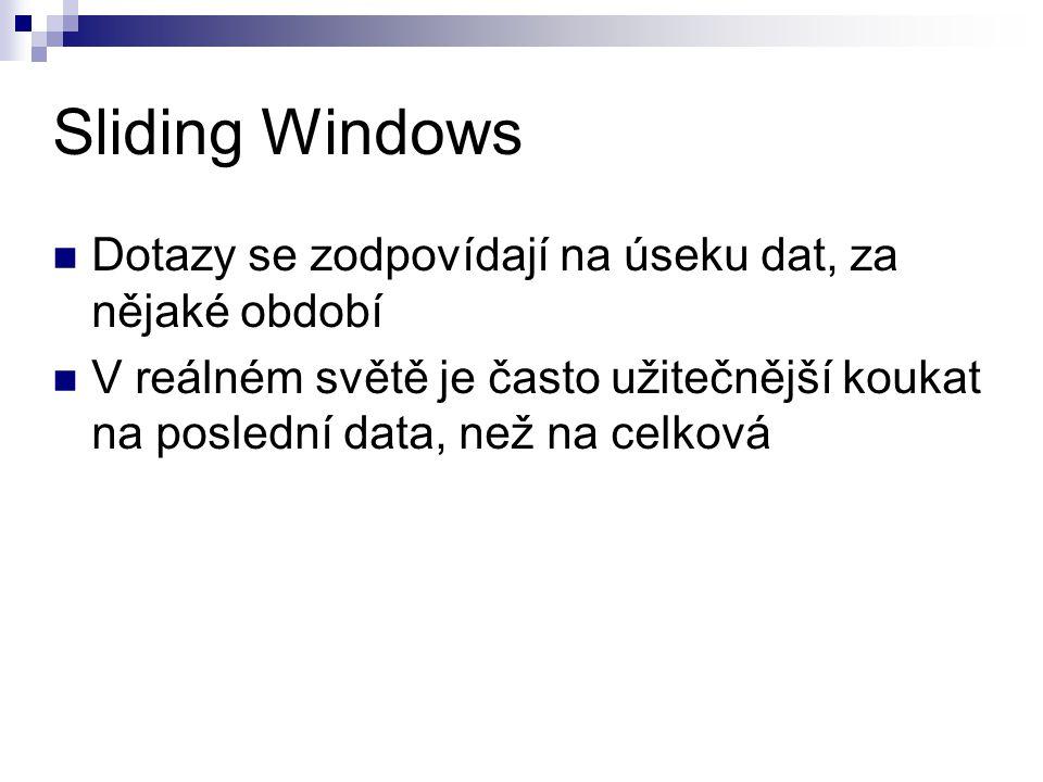 Sliding Windows Dotazy se zodpovídají na úseku dat, za nějaké období V reálném světě je často užitečnější koukat na poslední data, než na celková