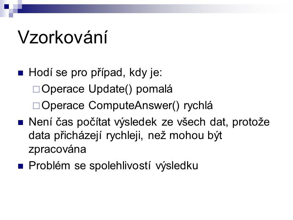 Vzorkování Hodí se pro případ, kdy je:  Operace Update() pomalá  Operace ComputeAnswer() rychlá Není čas počítat výsledek ze všech dat, protože data