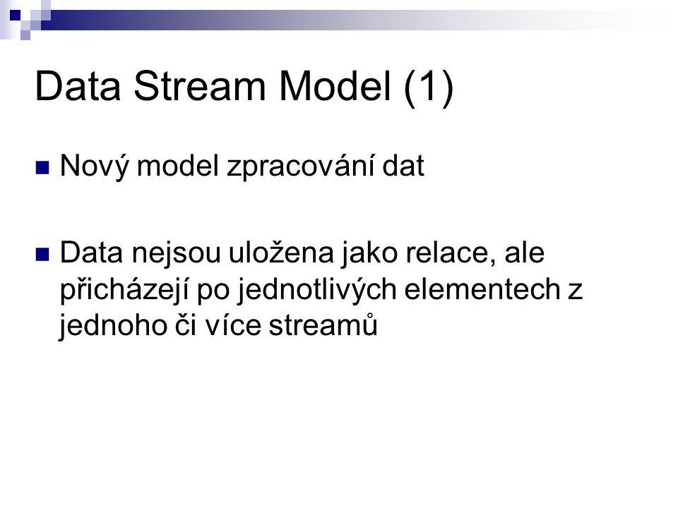 Data Stream Model (1) Nový model zpracování dat Data nejsou uložena jako relace, ale přicházejí po jednotlivých elementech z jednoho či více streamů