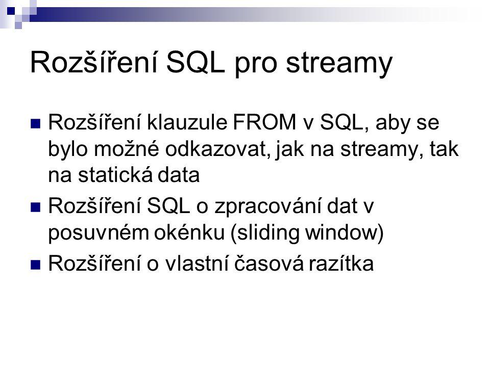 Rozšíření SQL pro streamy Rozšíření klauzule FROM v SQL, aby se bylo možné odkazovat, jak na streamy, tak na statická data Rozšíření SQL o zpracování