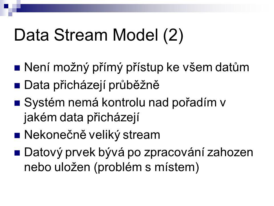 Data Stream Model (2) Není možný přímý přístup ke všem datům Data přicházejí průběžně Systém nemá kontrolu nad pořadím v jakém data přicházejí Nekoneč