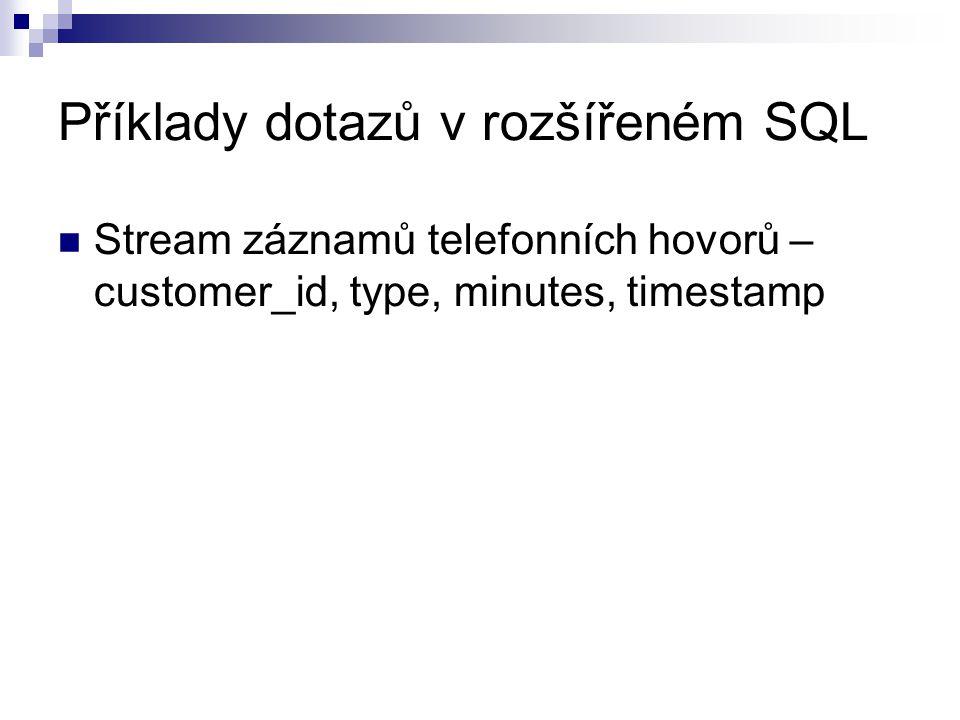 Příklady dotazů v rozšířeném SQL Stream záznamů telefonních hovorů – customer_id, type, minutes, timestamp