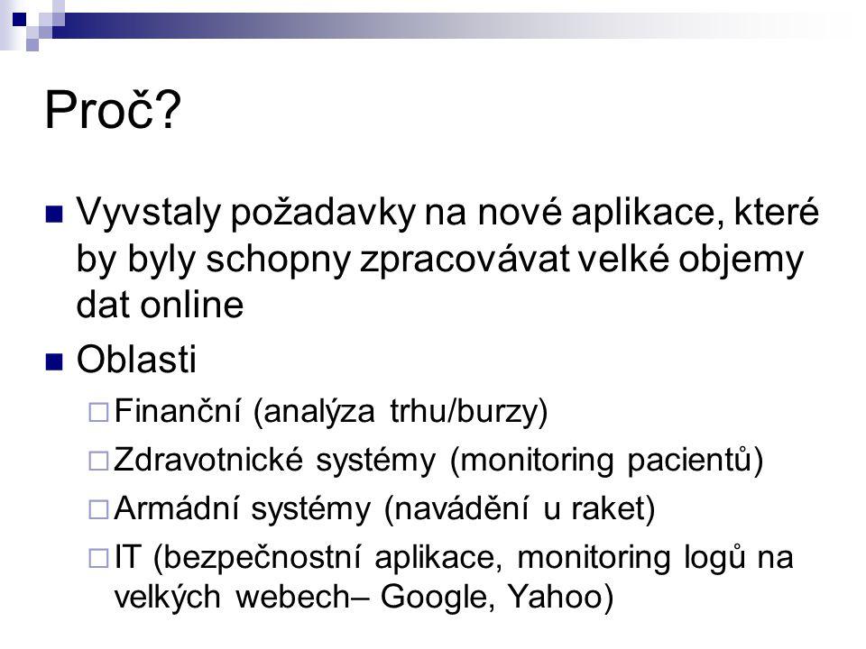 Proč? Vyvstaly požadavky na nové aplikace, které by byly schopny zpracovávat velké objemy dat online Oblasti  Finanční (analýza trhu/burzy)  Zdravot