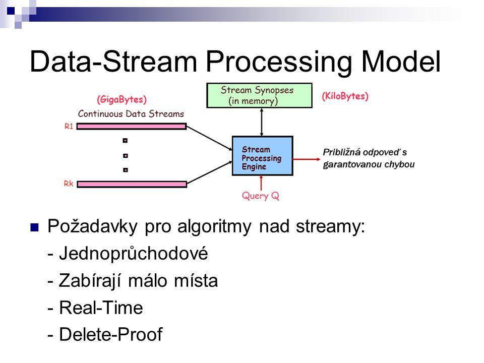 Data-Stream Processing Model Požadavky pro algoritmy nad streamy: - Jednoprůchodové - Zabírají málo místa - Real-Time - Delete-Proof