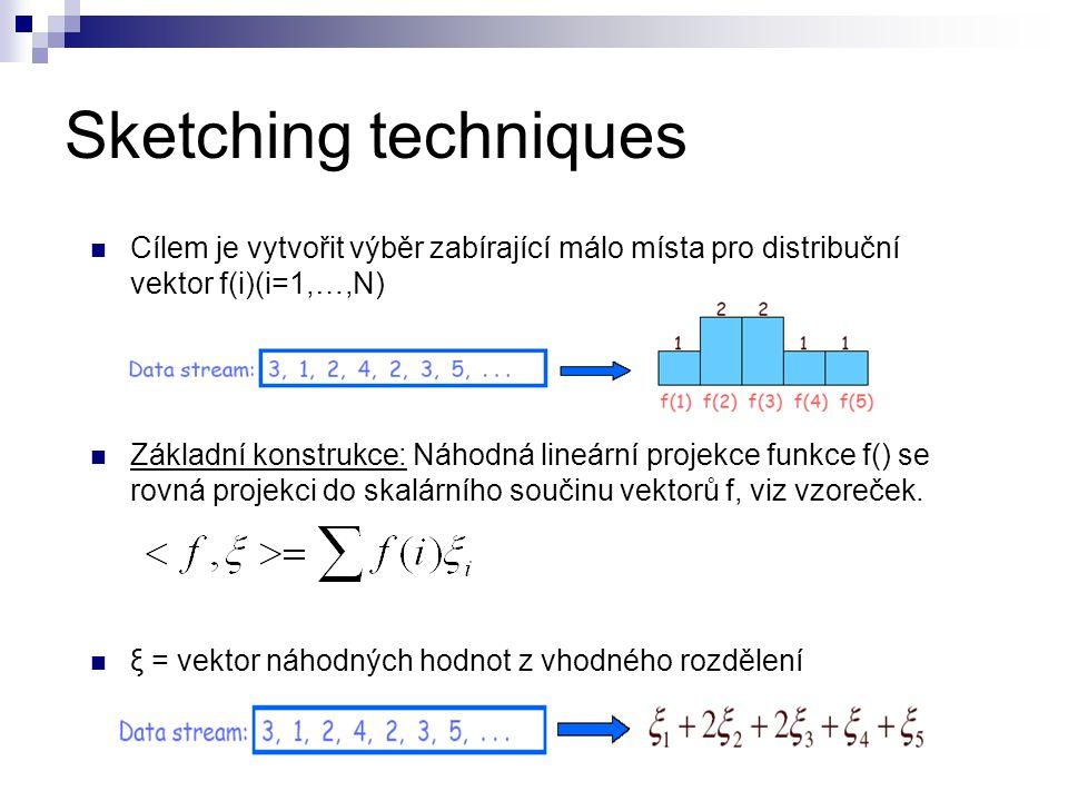 Sketching techniques Cílem je vytvořit výběr zabírající málo místa pro distribuční vektor f(i)(i=1,…,N) Základní konstrukce: Náhodná lineární projekce