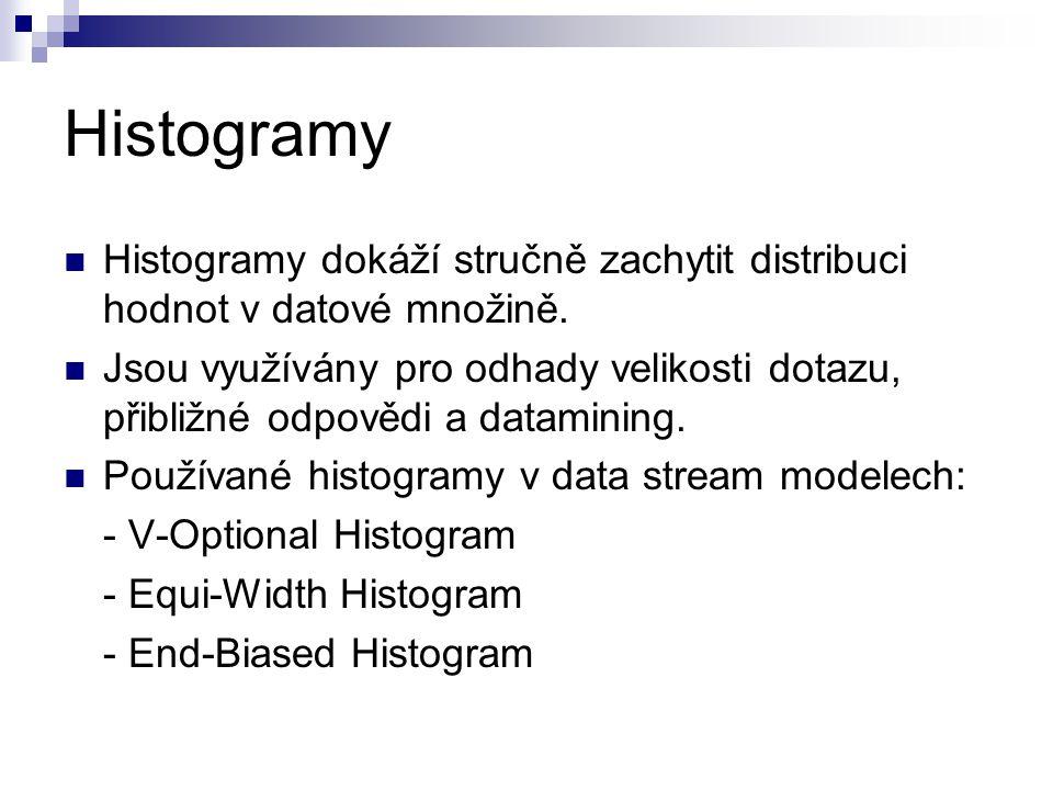 Histogramy Histogramy dokáží stručně zachytit distribuci hodnot v datové množině. Jsou využívány pro odhady velikosti dotazu, přibližné odpovědi a dat