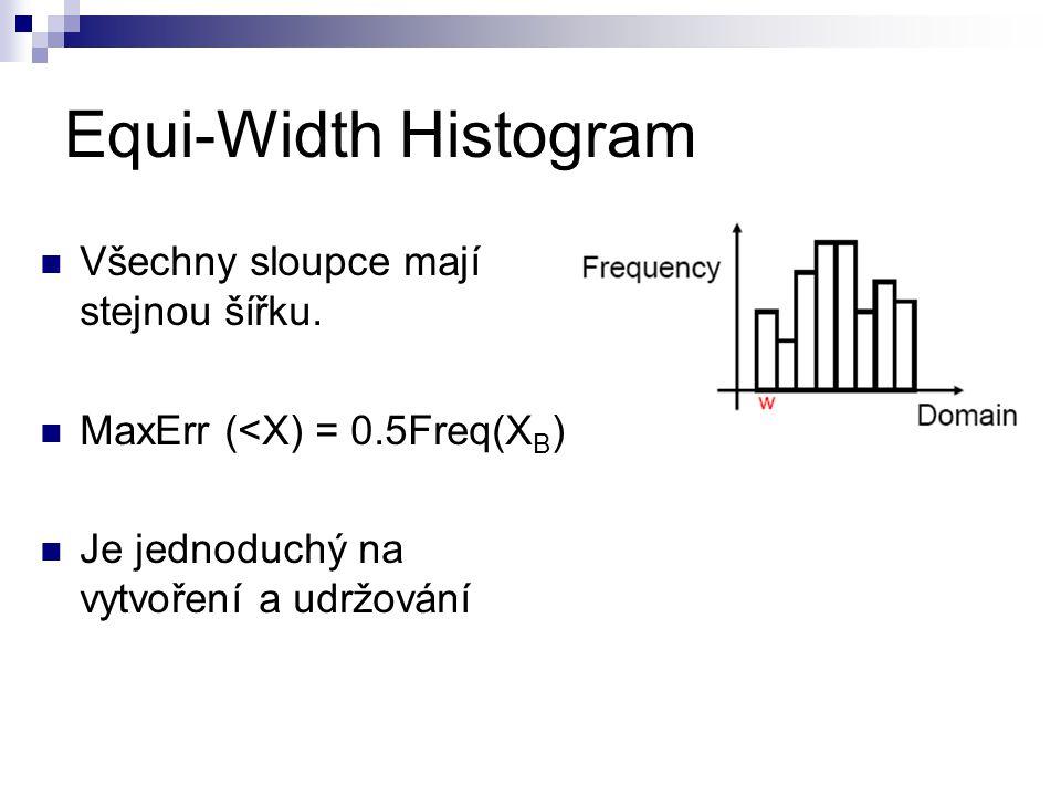 Equi-Width Histogram Všechny sloupce mají stejnou šířku. MaxErr (<X) = 0.5Freq(X B ) Je jednoduchý na vytvoření a udržování