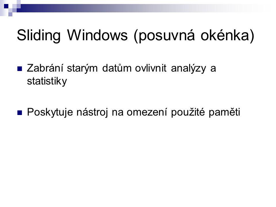 Sliding Windows (posuvná okénka) Zabrání starým datům ovlivnit analýzy a statistiky Poskytuje nástroj na omezení použité paměti