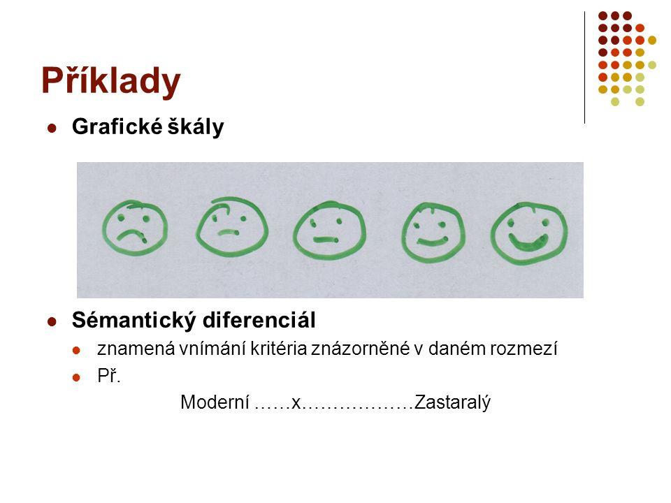 Příklady Grafické škály Sémantický diferenciál znamená vnímání kritéria znázorněné v daném rozmezí Př. Moderní ……x………………Zastaralý