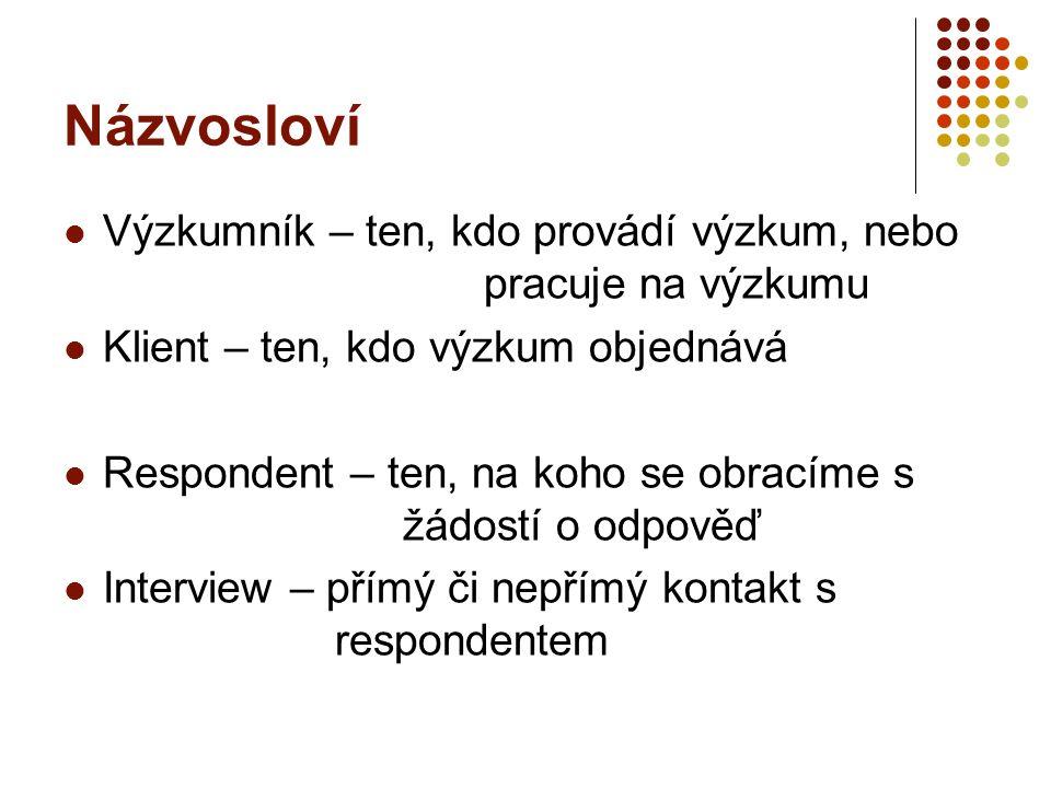 Proces MV 1.Určení cíle výzkumu, definování výzkumného problému; 2.
