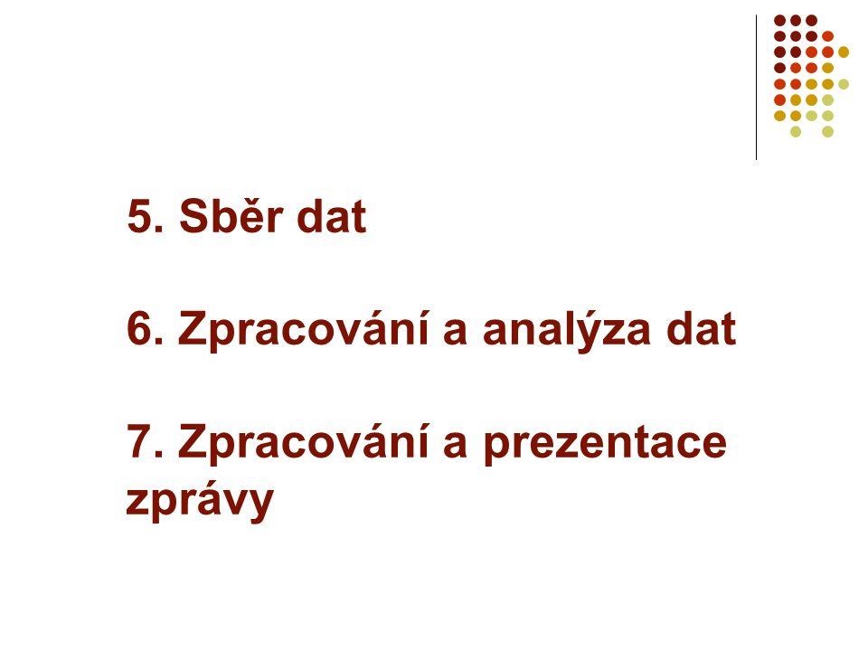 5. Sběr dat 6. Zpracování a analýza dat 7. Zpracování a prezentace zprávy