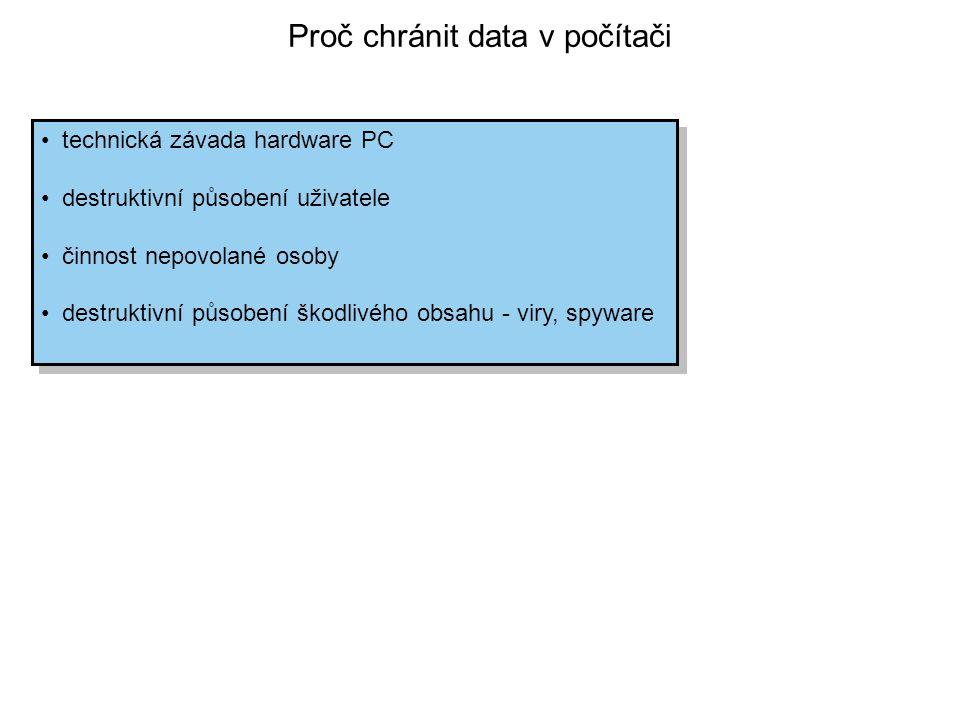 Proč chránit data v počítači technická závada hardware PC destruktivní působení uživatele činnost nepovolané osoby destruktivní působení škodlivého ob