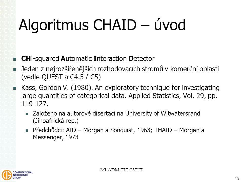 Algoritmus CHAID – úvod CHi-squared Automatic Interaction Detector Jeden z nejrozšířenějších rozhodovacích stromů v komerční oblasti (vedle QUEST a C4