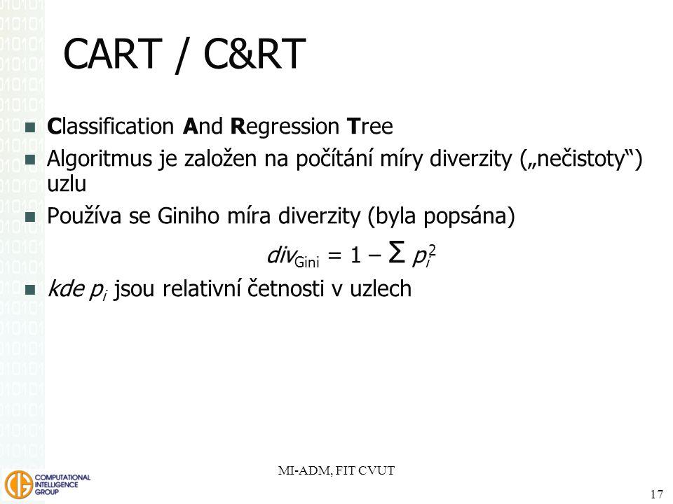 """CART / C&RT Classification And Regression Tree Algoritmus je založen na počítání míry diverzity (""""nečistoty"""") uzlu Používa se Giniho míra diverzity (b"""