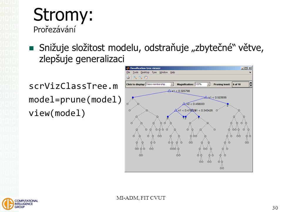 """MI-ADM, FIT CVUT 30 Stromy: Prořezávání Snižuje složitost modelu, odstraňuje """"zbytečné"""" větve, zlepšuje generalizaci scrVizClassTree.m model=prune(mod"""