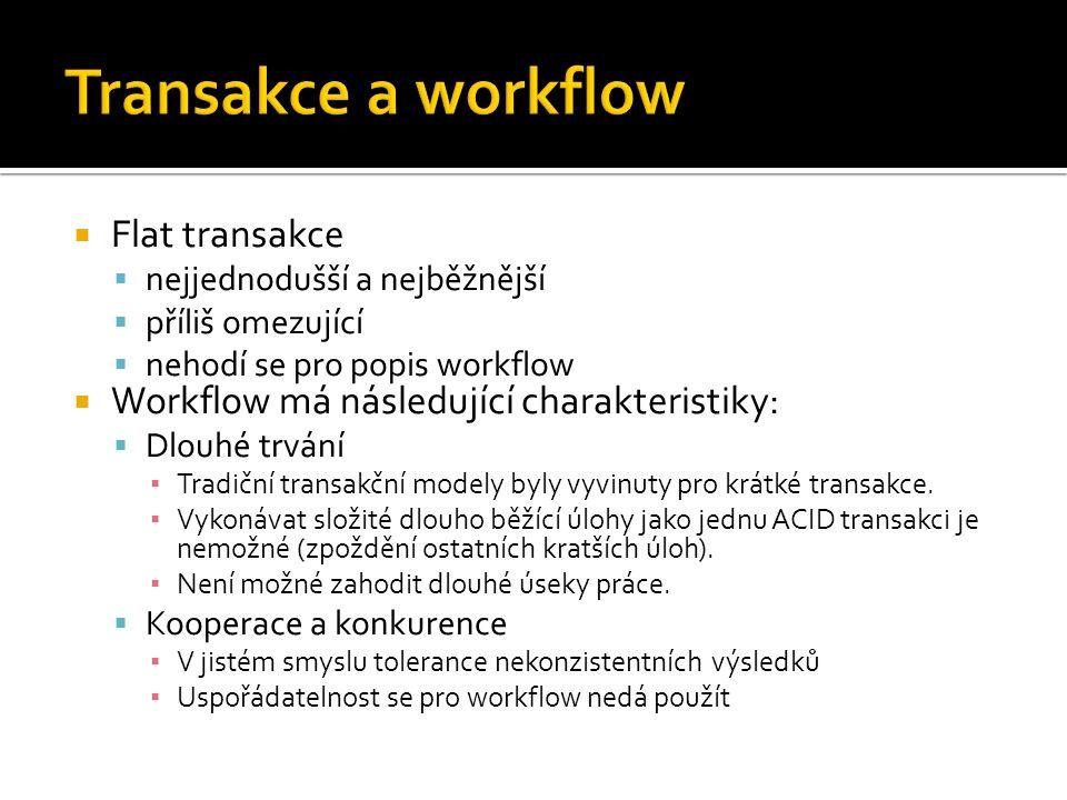  Flat transakce  nejjednodušší a nejběžnější  příliš omezující  nehodí se pro popis workflow  Workflow má následující charakteristiky:  Dlouhé trvání ▪ Tradiční transakční modely byly vyvinuty pro krátké transakce.
