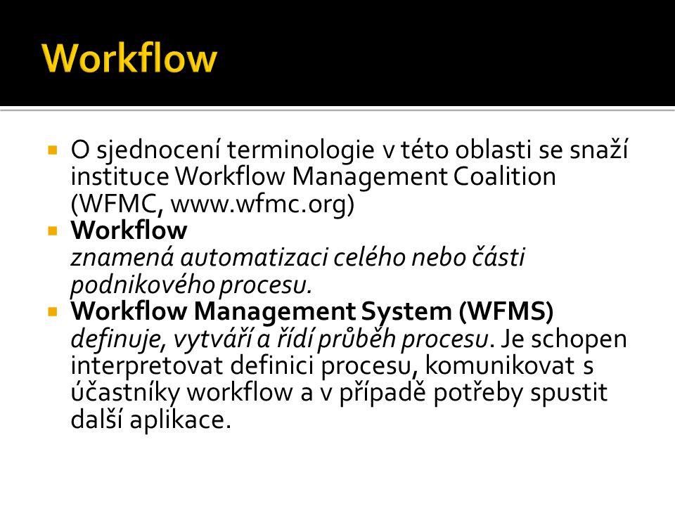  Statické aspekty workflow:  Aktivity ▪ Interaktivní – vykonávány po zásahu uživatele ▪ Neinteraktivní – plně vykonávány v režii WFMS  Datové objekty ▪ Aplikační data – zpracovávána a produkována aktivitami ▪ Procesní data – nutná pro vykonávání workflow, např.