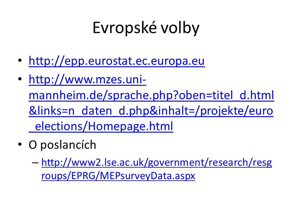 Evropské volby http://epp.eurostat.ec.europa.eu http://www.mzes.uni- mannheim.de/sprache.php oben=titel_d.html &links=n_daten_d.php&inhalt=/projekte/euro _elections/Homepage.html http://www.mzes.uni- mannheim.de/sprache.php oben=titel_d.html &links=n_daten_d.php&inhalt=/projekte/euro _elections/Homepage.html O poslancích – http://www2.lse.ac.uk/government/research/resg roups/EPRG/MEPsurveyData.aspx http://www2.lse.ac.uk/government/research/resg roups/EPRG/MEPsurveyData.aspx