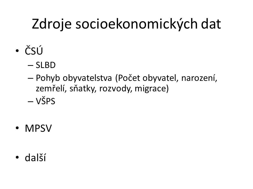 Zdroje socioekonomických dat ČSÚ – SLBD – Pohyb obyvatelstva (Počet obyvatel, narození, zemřelí, sňatky, rozvody, migrace) – VŠPS MPSV další