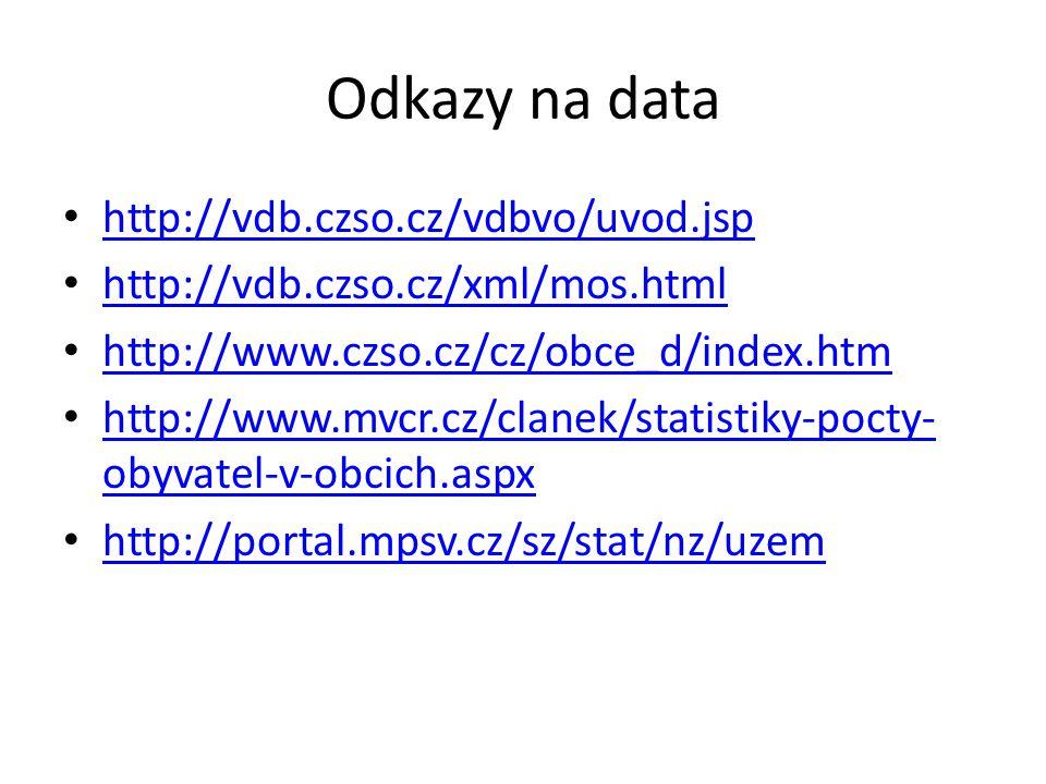 Odkazy na data http://vdb.czso.cz/vdbvo/uvod.jsp http://vdb.czso.cz/xml/mos.html http://vdb.czso.cz/xml/mos.html http://www.czso.cz/cz/obce_d/index.htm http://www.mvcr.cz/clanek/statistiky-pocty- obyvatel-v-obcich.aspx http://www.mvcr.cz/clanek/statistiky-pocty- obyvatel-v-obcich.aspx http://portal.mpsv.cz/sz/stat/nz/uzem