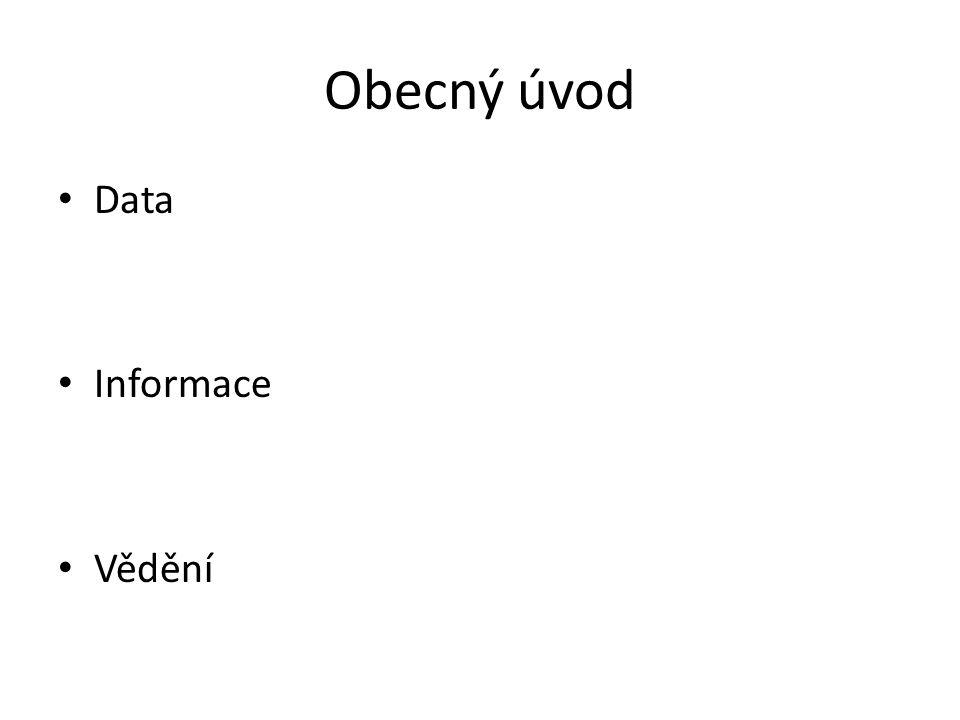 Obecný úvod Data Informace Vědění