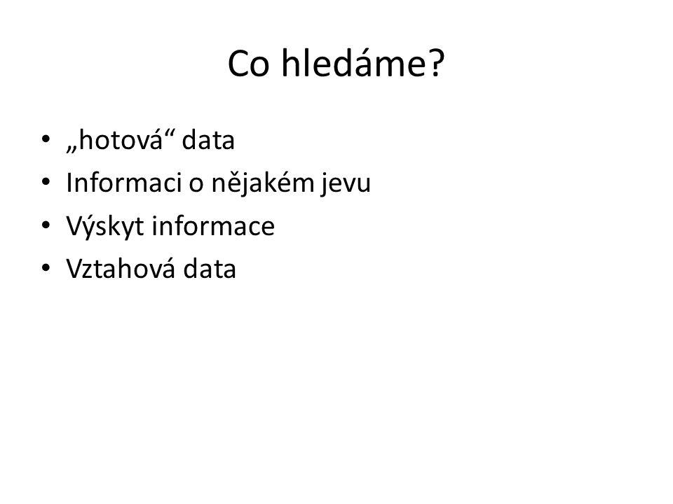 """Co hledáme """"hotová data Informaci o nějakém jevu Výskyt informace Vztahová data"""