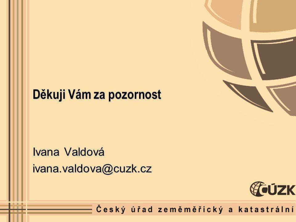 Děkuji Vám za pozornost Ivana Valdová ivana.valdova@cuzk.cz