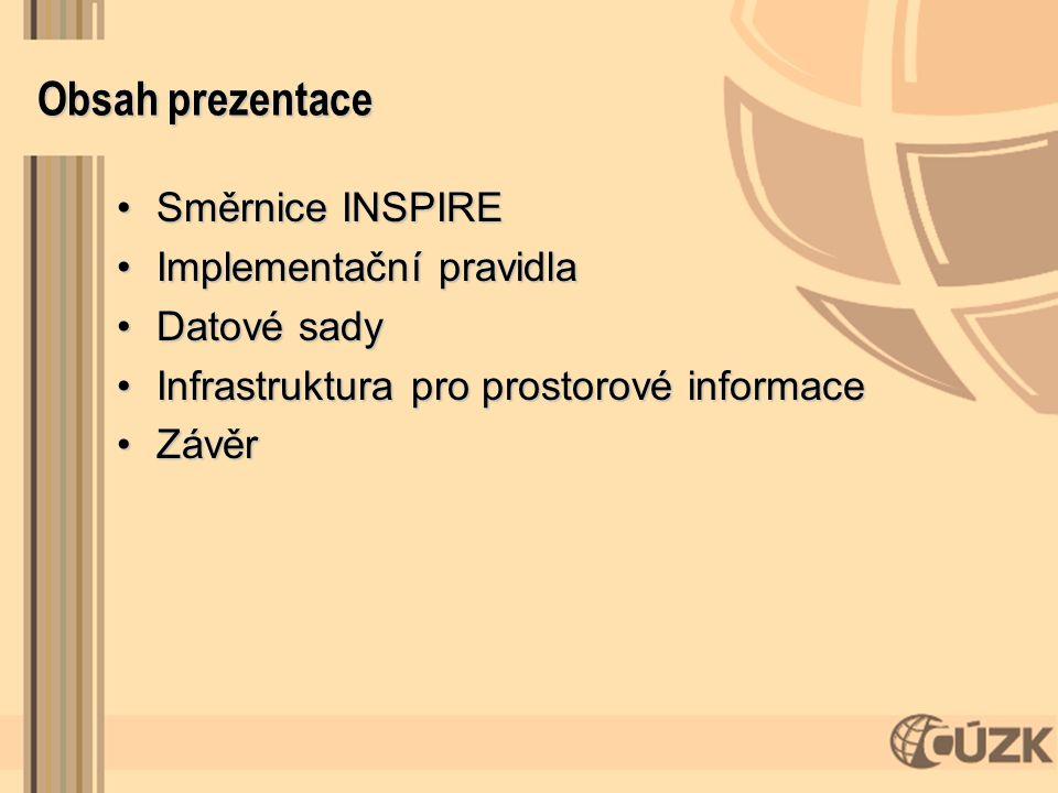 Obsah prezentace Směrnice INSPIRESměrnice INSPIRE Implementační pravidlaImplementační pravidla Datové sadyDatové sady Infrastruktura pro prostorové in
