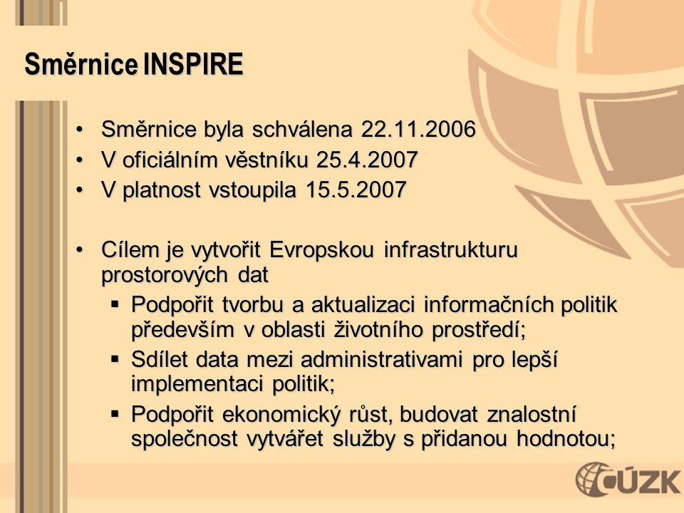 Směrnice INSPIRE Směrnice byla schválena 22.11.2006Směrnice byla schválena 22.11.2006 V oficiálním věstníku 25.4.2007V oficiálním věstníku 25.4.2007 V