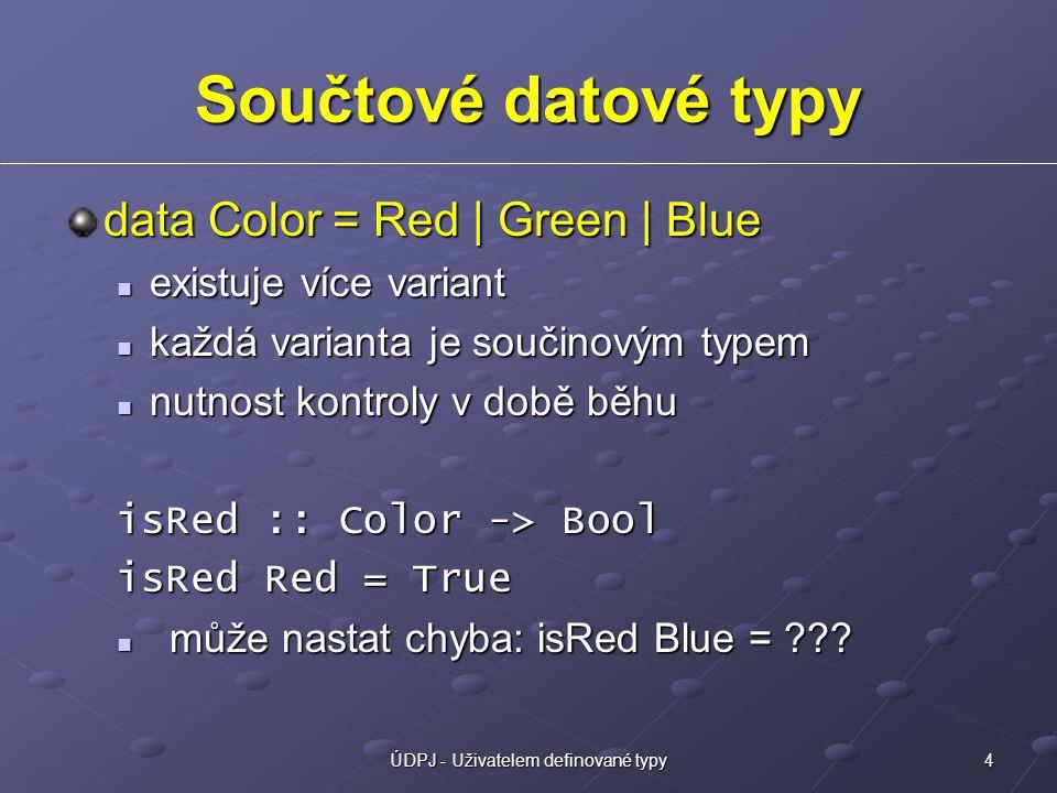 4ÚDPJ - Uživatelem definované typy Součtové datové typy data Color = Red | Green | Blue existuje více variant existuje více variant každá varianta je součinovým typem každá varianta je součinovým typem nutnost kontroly v době běhu nutnost kontroly v době běhu isRed :: Color -> Bool isRed Red = True může nastat chyba: isRed Blue = ??.
