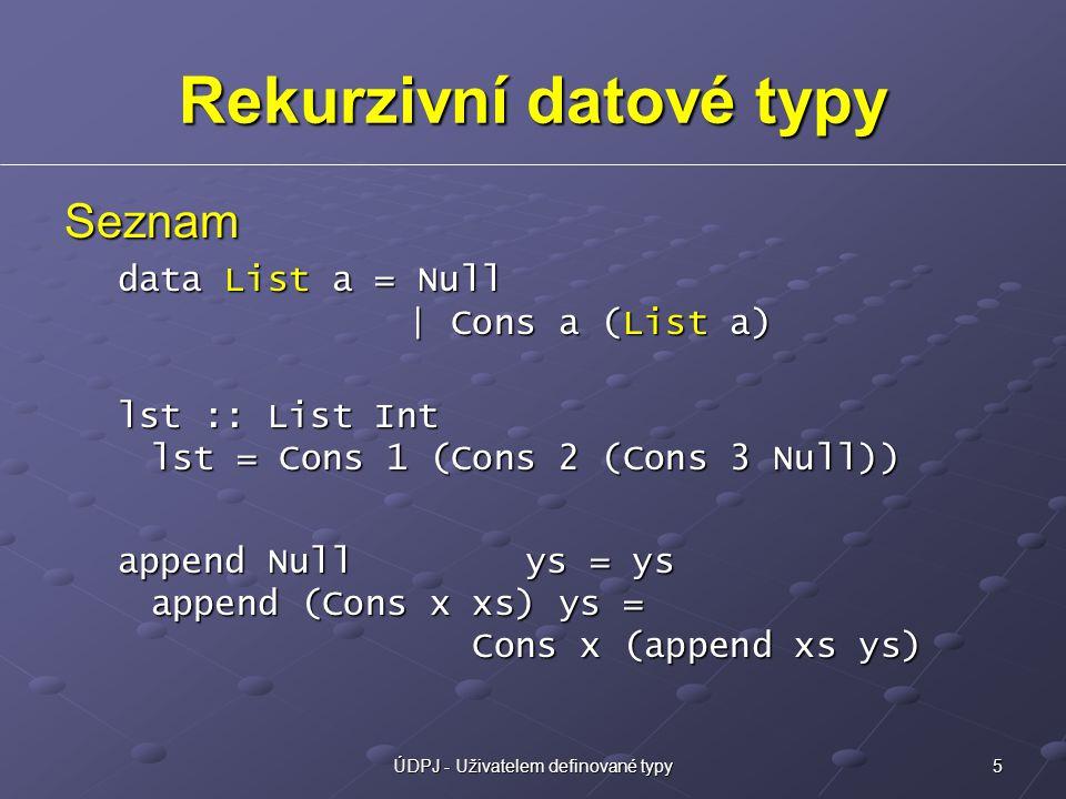 5ÚDPJ - Uživatelem definované typy Rekurzivní datové typy Seznam data List a = Null | Cons a (List a) lst :: List Int lst = Cons 1 (Cons 2 (Cons 3 Null)) append Null ys = ys append (Cons x xs) ys = Cons x (append xs ys)