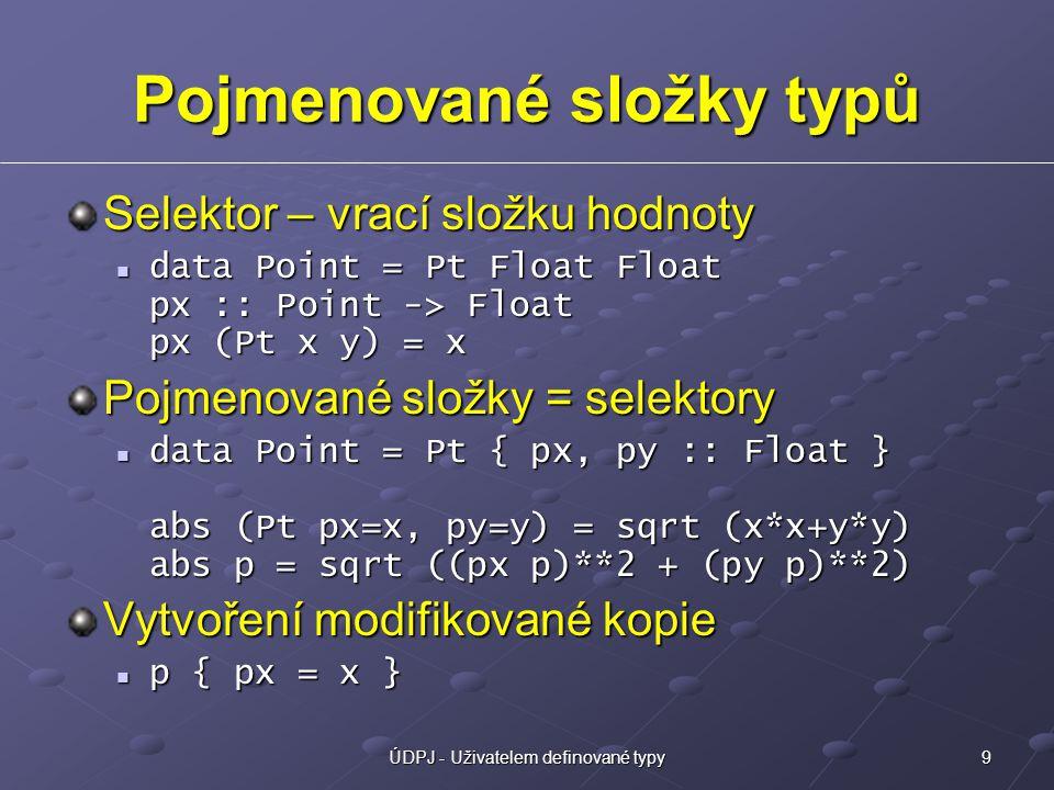 9ÚDPJ - Uživatelem definované typy Pojmenované složky typů Selektor – vrací složku hodnoty data Point = Pt Float Float px :: Point -> Float px (Pt x y) = x data Point = Pt Float Float px :: Point -> Float px (Pt x y) = x Pojmenované složky = selektory data Point = Pt { px, py :: Float } abs (Pt px=x, py=y) = sqrt (x*x+y*y) abs p = sqrt ((px p)**2 + (py p)**2) data Point = Pt { px, py :: Float } abs (Pt px=x, py=y) = sqrt (x*x+y*y) abs p = sqrt ((px p)**2 + (py p)**2) Vytvoření modifikované kopie p { px = x } p { px = x }
