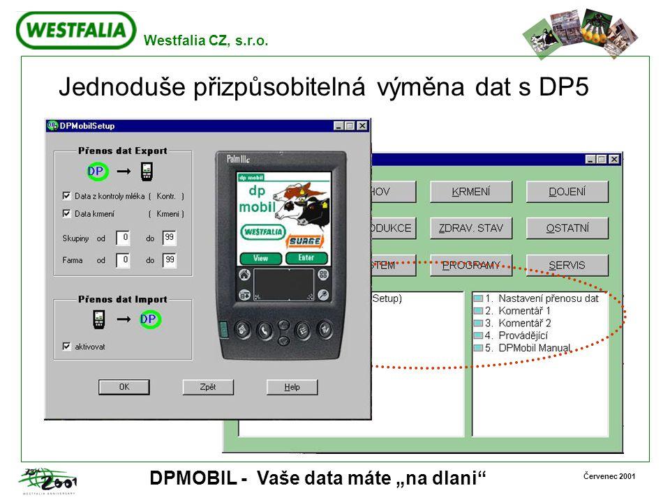 """Westfalia CZ, s.r.o. Červenec 2001 DPMOBIL - Vaše data máte """"na dlani"""" Jednoduše přizpůsobitelná výměna dat s DP5"""